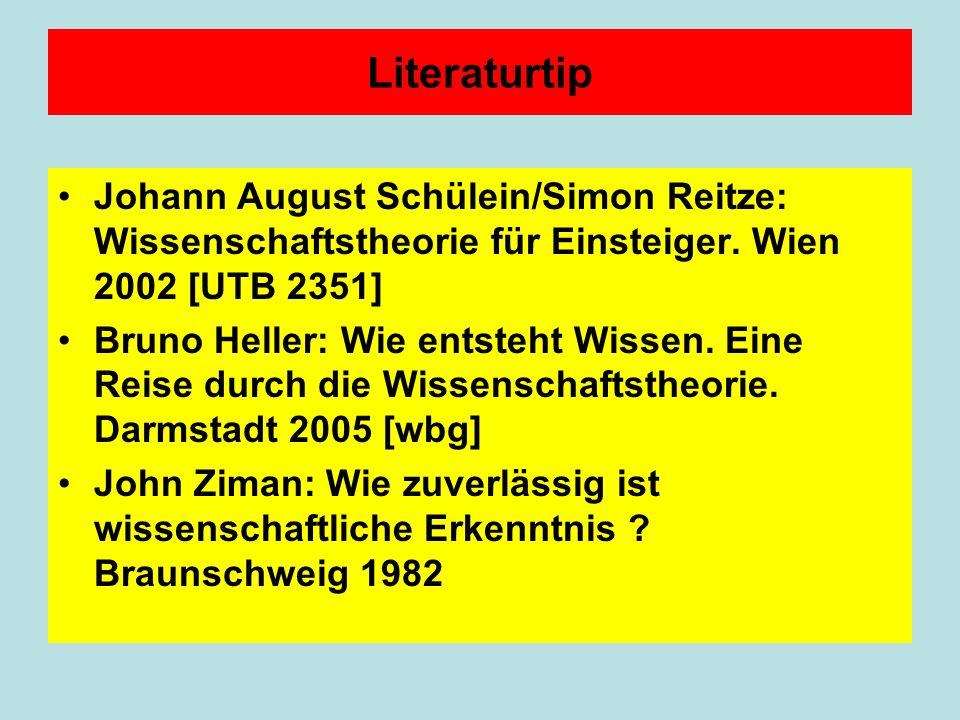 Literaturtip Johann August Schülein/Simon Reitze: Wissenschaftstheorie für Einsteiger. Wien 2002 [UTB 2351]